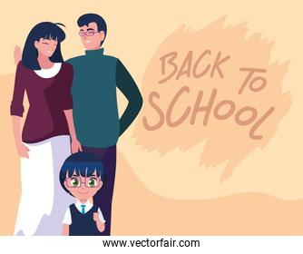 cute little student boy with parents in poster back to school