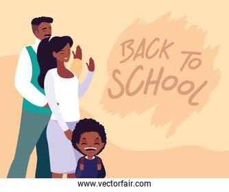 little student boy afro with parents in poster back to school