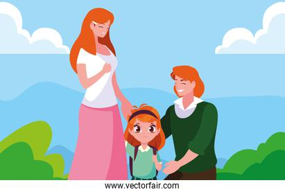 cute little student girl with parents in landscape