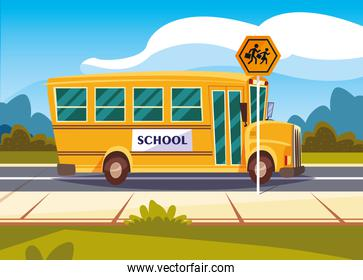 school bus transportation in road with signage