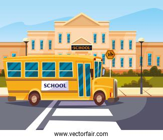 bus in road with building school
