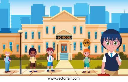 facade of school with cute little students