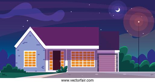 house building facade with nightscape