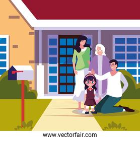 house building facade with cute family members