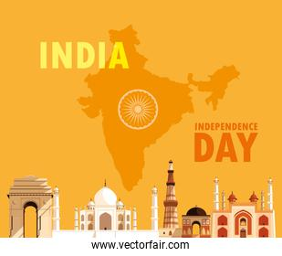 indian independence day cartel with group of buildings