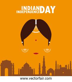 independence day indian label with woman face