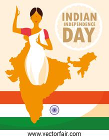 indian independence day poster with woman and map