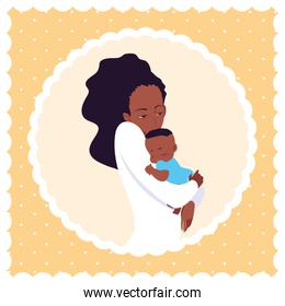 cute mother afro with little son in frame circular