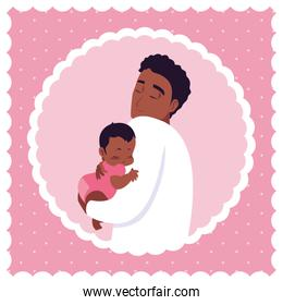 cute dad afro with little son in frame circular