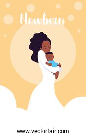 newborn card with mom afro and cute little son