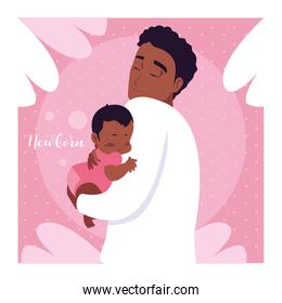 newborn card with dad afro and cute little son