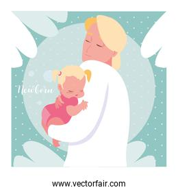 newborn card with dad and cute little baby girl