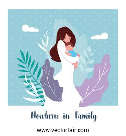 newborn in family card with mom and cute son baby