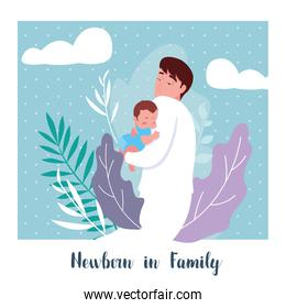 newborn in family card with dad and little son baby