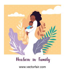 newborn in family card with mom afro and cute son baby