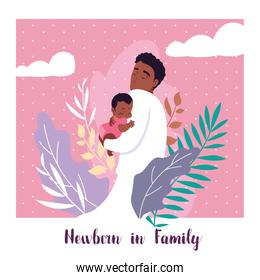 newborn in family card with dad afro and little son baby