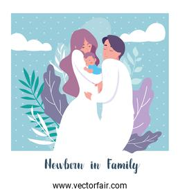 newborn in family card with parents and son baby