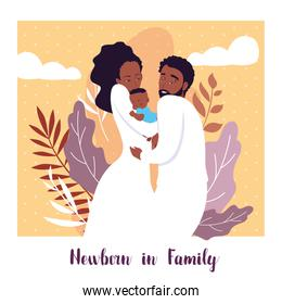 newborn in family card with parents afro and son baby