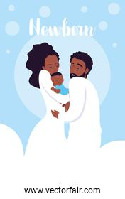 newborn card with parents afro and cute little son