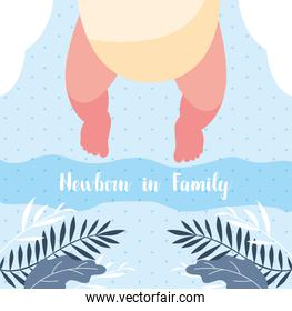 newborn in family card with foots baby