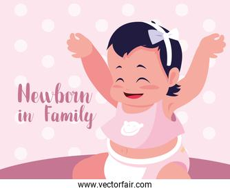 newborn in family card with baby girl