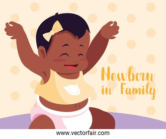 newborn in family card with baby girl afro
