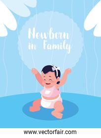 newborn in family poster with baby girl