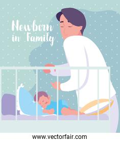 newborn in family card with dad and baby sleeping in crib
