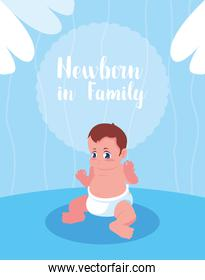 newborn in family card with baby boy