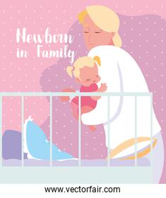 newborn in family card with dad and baby girl