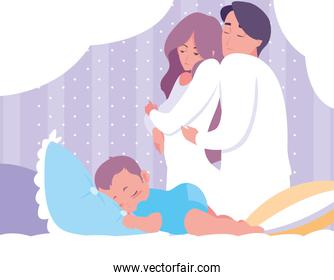 parents with baby boy sleeping