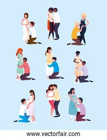 group of couples pregnant avatar character