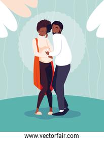 cute afro couple pregnancy avatar character