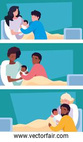 group of mothers with newborn in stretcher