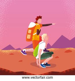 men traveler in landscape avatar character