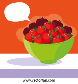 bowl with fresh red tomatoes with speech bubble