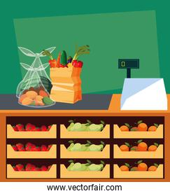 showcase store with fresh food and cash register machine