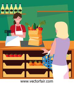 salesman with buyer female in store with fresh food