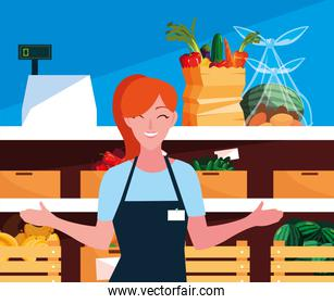 saleswoman with showcase store and fresh food