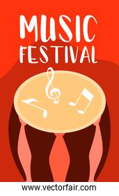 music festival poster with bongo drum