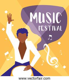 music festival poster with man playing bongo drum