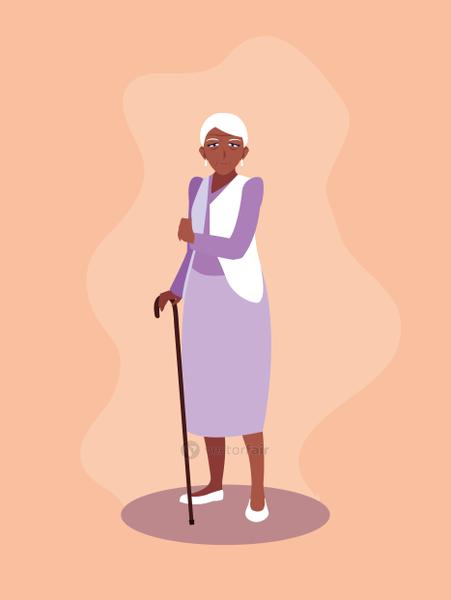 old woman afro with cane