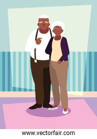 cute old couple afro avatars characters