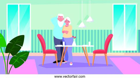 cute old couple with dining room