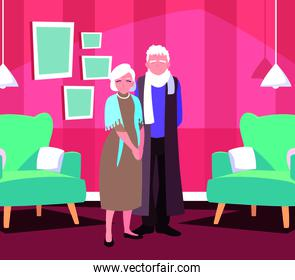 cute old couple in house inside