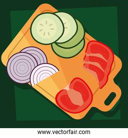 kitchen board with fresh vegetables