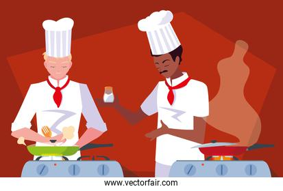 professional chef cooking in kitchen scene