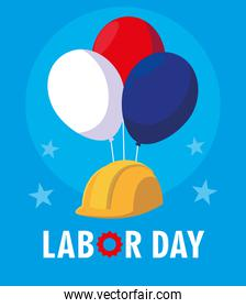 labor day card with safety helmet and balloons helium