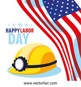 labor day card with safety helmet and flag usa