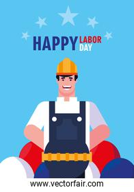 labor day label with man worker construction